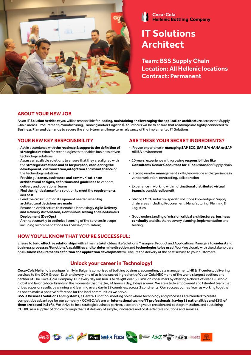 IT Solutions Architect Coca Cola HBC